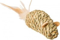 Ethical Cat seagrass mouse w/feathers cat toy - 3.5in, 48 ea