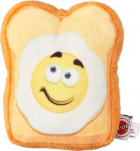 Ethical Dog fun food egg on toast plush toy - medium, 48 ea