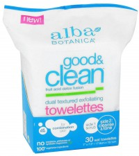 Alba Botanica Good and Clean Dual Textured Exfoliating Towelettes - 30 ea