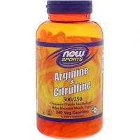 Now foods, arginine & citrulline, 500/250 mg veg capsules - 240 ea
