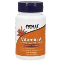 Nowfoods vitamin a 10000 iu from fish liver oil dietry supplements, Softgels - 100 ea