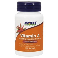 Nowfoods vitamin a 25000 iu from fish liver oil dietry supplements, Softgels - 100 ea
