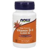 Nowfoods vitamin d-3 5000 iu high potency dietry supplements, Softgels - 120 ea