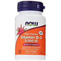 Nowfoods vitamin d-3 5000 iu high potency dietry supplements, Softgels - 240 ea