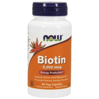 Nowfoods biotin 5000mcg dietry supplements, Veg capsules - 60 ea