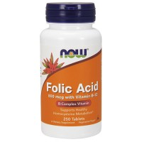 Nowfoods Folic Acid 500mcg with Vitamin B-12 Tablets - 250 ea