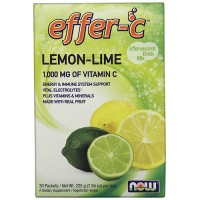 Nowfoods effer-c dietry supplements, Lemon lime - 30 packets, (7.5g) each