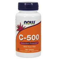 Nowfoods vitamin c-500 with rose hips supplements, Tablets - 100 ea