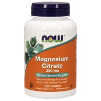 Nowfoods magnesium citrate 200mg dietry supplements, tablets - 100 ea