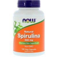 Now Foods natural spirulina 500 mg veg capsules - 120 ea