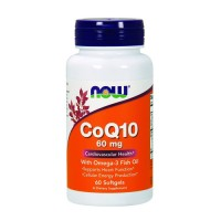 Now Foods CoQ10 60 mg w/ omega 3 fish oils cardiovascular health, softgels - 60 ea