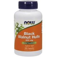 Now Foods black walnut hulls 500 mg capsules - 100 ea
