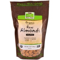 Now foods organic raw almonds, unsalted - 12 oz