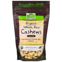 Now foods  organic, whole, raw cashews, unsalted -  10 oz