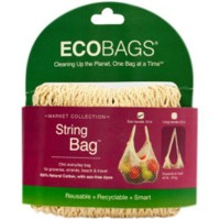 Eco bags, string bags tote handle natural cotton strom blue -1 ea