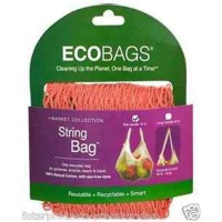 Eco bags, string bags tote handle natural cotton coral rose -1 ea
