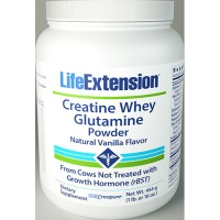 LifeExtension Creatine whey Glutamine powder, Vanilla - 16 oz