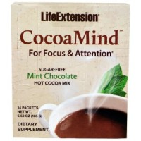 LifeExtension CocoaMind sugar free chocolate, Mint - 6.52 oz/pack, 14 ea