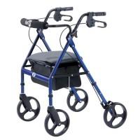 """KLIP 4W WALKER W.SEAT, 8"""" WHEELS, MED,  BLUE - 1 ea"""