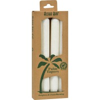 Aloha bay palm tapers white unscented 9 inches candles - 4 ea