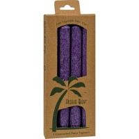 Aloha bay palm tapers violet candles - 4 ea