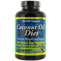 Health Support Coconut Oil Diet Softgels, Caffeine Free - 180 ea