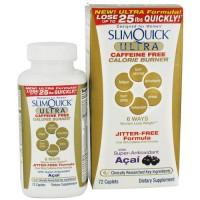 Slimquick ultra caffeine free calorie burner, jitter free formula -72 ea
