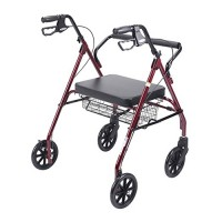 Drive Medical Heavy Duty Bariatric Walker Rollator with Large Padded Seat, Red - 1 ea
