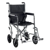 Drive Medical Go Cart Light Weight Steel Transport Wheelchair with Swing Away Footrest, 19 inches Seat - 1 ea