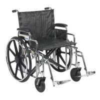 Drive Medical Sentra Extra Heavy Duty Wheelchair, Detachable Desk Arms, Swing away Footrests, 22 inches Seat - 1 ea