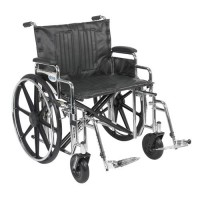 Drive Medical Sentra Extra Heavy Duty Wheelchair, Detachable Desk Arms, Swing away Footrests, 24 inches Seat - 1 ea