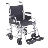 Drive Medical Poly Fly Light Weight Transport Chair Wheelchair with Swing away Footrests, 18 inches Seat - 1 ea