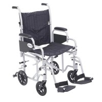 Drive Medical Poly Fly Light Weight Transport Chair Wheelchair with Swing away Footrests, 20 inches Seat - 1 ea