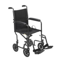 Drive Medical Lightweight Steel Transport Wheelchair, Fixed Full Arms, 17 inches Seat - 1 ea