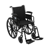 Drive Medical Cruiser III Light Weight Wheelchair with Flip Back Removable Arms, Adjustable Height Desk Arms, Swing away Footrests, 18 inches - 1 ea