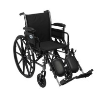 Drive Medical Cruiser III Light Weight Wheelchair with Flip Back Removable Arms, Adjustable Height Desk Arms, Elevating Leg Rests, 20 inches - 1 ea