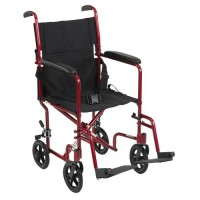 Drive Medical Lightweight Transport Wheelchair, 19 inches Seat, Red - 1 ea