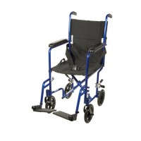 Drive Medical Lightweight Transport Wheelchair, 17 inches Seat, Blue - 1 ea