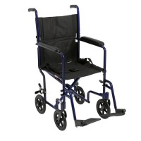 Drive Medical Lightweight Transport Wheelchair, 19 inches Seat, Blue - 1 ea