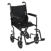 Drive Medical Lightweight Transport Wheelchair, 17 inches Seat, Black - 1 ea