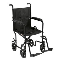 Drive Medical Lightweight Transport Wheelchair, 19 inches Seat, Black - 1 ea
