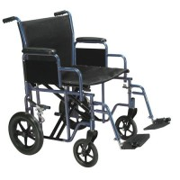 Drive Medical Bariatric Heavy Duty Transport Wheelchair with Swing Away Footrest, 22 inches Seat, Blue - 1 ea