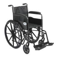 Drive Medical Silver Sport 2 Wheelchair, Non Removable Fixed Arms, Swing away Footrests, 18 inches Seat - 1 ea