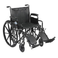 Drive Medical Silver Sport 2 Wheelchair, Detachable Desk Arms, Elevating Leg Rests, 20 inches Seat - 1 ea