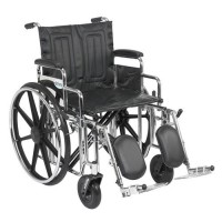 Drive Medical Sentra Extra Heavy Duty Wheelchair, Detachable Desk Arms, Elevating Leg Rests, 20 inches Seat - 1 ea