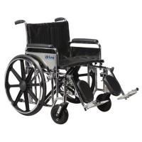 Drive Medical Sentra Extra Heavy Duty Wheelchair, Detachable Full Arms, Elevating Leg Rests, 24 inches Seat - 1 ea