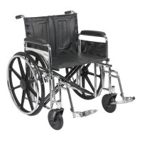Drive Medical Sentra Extra Heavy Duty Wheelchair, Detachable Full Arms, Swing away Footrests, 24 inches Seat - 1 ea