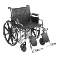 Drive Medical Sentra EC Heavy Duty Wheelchair, Detachable Desk Arms, Elevating Leg Rests, 22 inches Seat - 1 ea