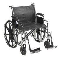 Drive Medical Sentra EC Heavy Duty Wheelchair, Detachable Desk Arms, Swing away Footrests, 24 inches Seat - 1 ea