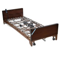 Drive Medical Delta Ultra Light Full Electric Low Bed with Half Rails and Therapeutic Support Mattress - 1 ea